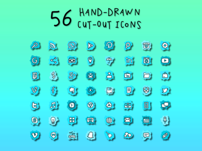 56 Hand-Drawn Cut-Out Icons