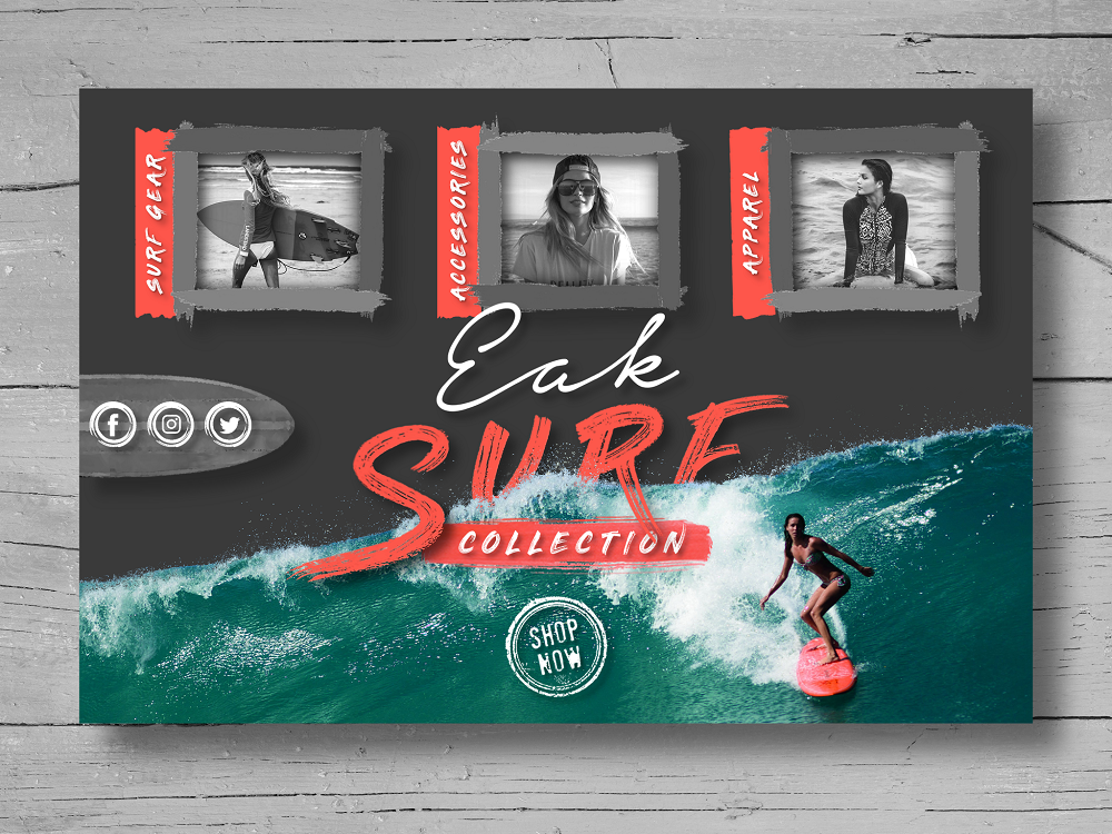 Eak Surf Collection Landing Page landing page lettering type web website typography logo branding vector illustration design homescreen icon graphic  design