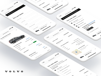 Volvo Cars Checkout mobile ui buy tracking order checkout ecommerce product design blue clean flat interface ios minimal mobile ux web website app design ui