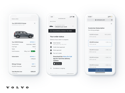 Volvo Checkout Screens product design product designer user experience checkout ecommerce minimal clean flat interface ios web website mobiledesign ux ui mobile app design uidesign mobile ui mobile