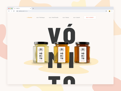 Vómito Splash Page ui branding design website design bees photography photoshop honey ecommerce product packaging logo visual design uidesign webpage website