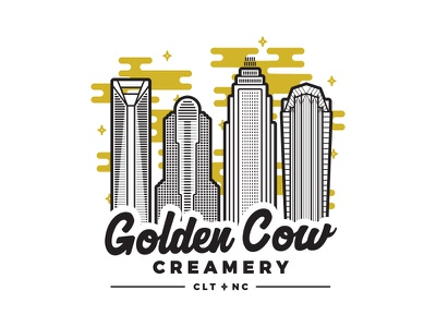 Golden Cow Creamery line vector flat city illustration stroke buildings clt gold skyline charlotte