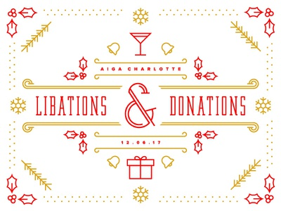 Libations & Donations gift cocktail holiday pine snowflake bells holly line vector donations libations