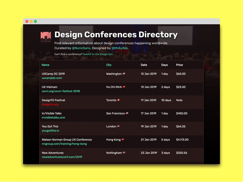 Design Conferences Directory conference design conference ui website design