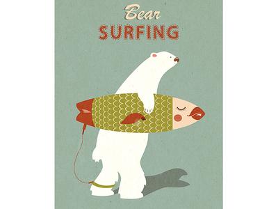 Bear Surfing bear surfer polar fish longboard surfing toluzakova gills tova scales surfboard surf