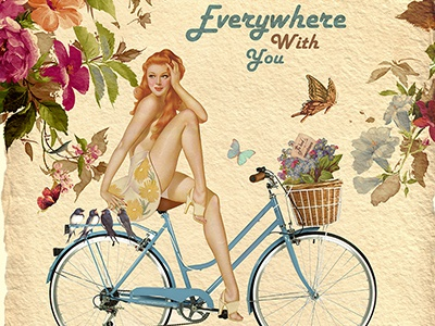 SKY bike everywhere sky natere girl bike flowers flower dribbble butterfly bird birds hair red blue brown advertising photoshop collage bicykle