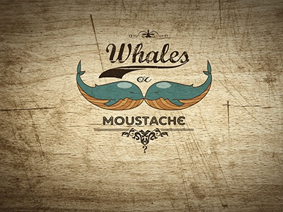 Whales or Moustache? photoshop logo wood adobe illustrator whales blue yellow brown website kate toluzakova font moustache