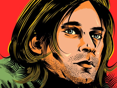 Kurt Cobain adobe illustrator wacom cintiq vector art vector illustration portrait illustration portrait kurt cobain poster poster design illustrator graphic design design illustration