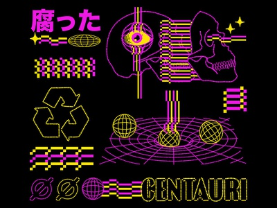 Centauri lofi retro design aesthetic graphic design illustration