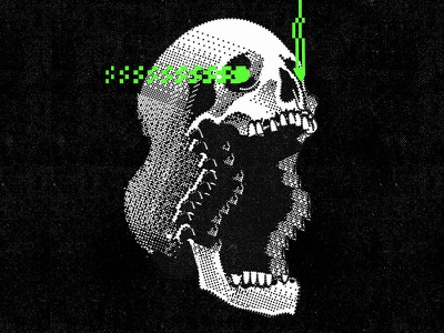 Glitch skull pixel art retrowave aesthetic vector graphic design illustration
