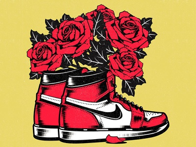 Jordan roses nike air max nike air nike jordan lofi aesthetic illustrator graphic design illustration