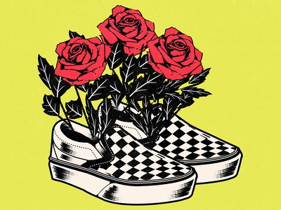 エモ vector art roses vans aesthetic graphic design illustration