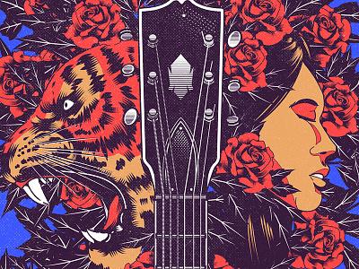 Endless roses tiger girl aesthetic digitalart cover design cover art cover artwork poster art poster design graphic design illustration