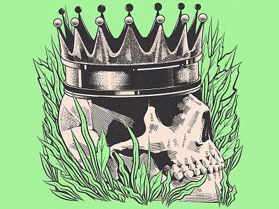 The King Is Dead III music vinyl design vinyl cover aesthetic vector graphic design skull illustration