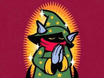 UNHOLY retro sticker magic he-man character graphic design cartoon vector design illustration