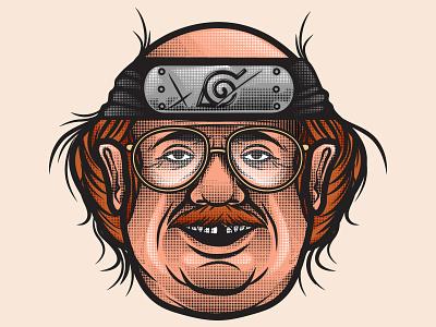 Otaku skull gore culture pop vector design character cartoon illustration