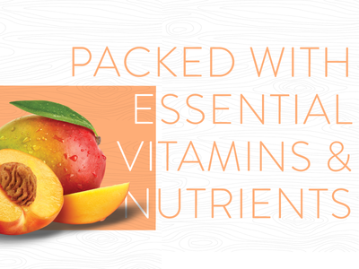 Packed with Essential Vitamins photogshop illustrator adobe overlap bright thin type typography texture fruit wood grain