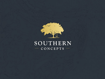 Southern Concepts texture gold tree typography icon logo illustration vector illustrator adobe