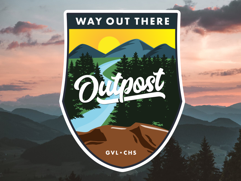 Way Out There mountains badges branding logo design flat illustration vector illustrator adobe