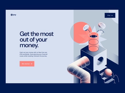 Qpay: Instant cash with no fees hero image fintech illustration web illustration isometric vector illustration illustration money transfer online banking finance fintech
