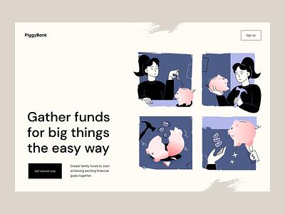 PiggyBank: landing page illustration fintech illustration character hero image web web illustration flat illustration vector illustration illustration finance fintech