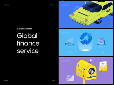 Global app: illustration set app digital ocean mailchimp uber finance fintech digital web vector illustration