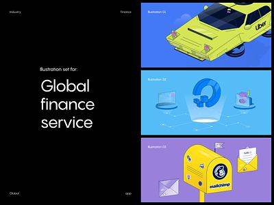 Global app: illustration set app digital ocean mailchimp uber finance fintech digital web vector illustration