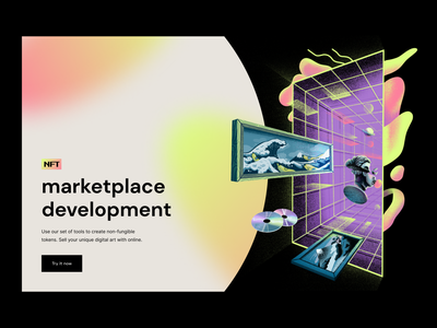 Landing page illustration: NFT Marketplace colors procreate hero image landing page illustrator illustration web nft art marketplace nft