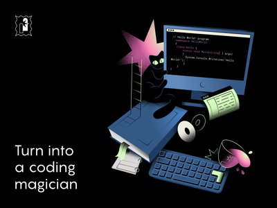 online courses: illustration learning code education edtech vector web courses