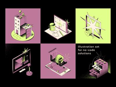 illustration set: no-code platform illustration illustration set vector isometric colours no code business onboarding