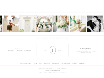 Footer design for Iona - A Showit Website Template instagram feed footer grid classic wedding photography website