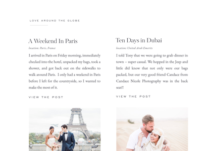 Travel section for a Showit Photography website editorial grid classic wedding photography website