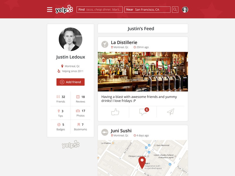 Yelp redesign just for fun whitespace redesign yelp