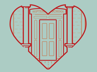 Heart is where the School Is non-profit t-shirt apparel illustration design
