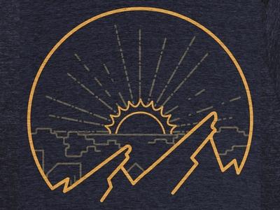 Mountain Sunrise (Cotton Bureau) illustration t-shirt boulder
