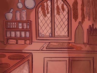 Kitchen setting procreate app illustration digital illustration