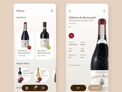 Winery ux interface app mobile ui ios