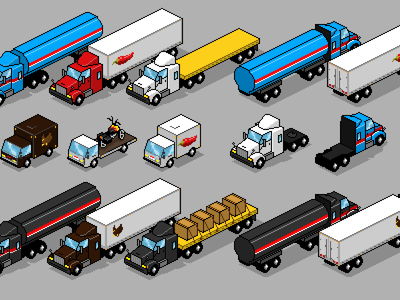 Pixel Art Trucks pixel art isometric iso 8-bit vintage game