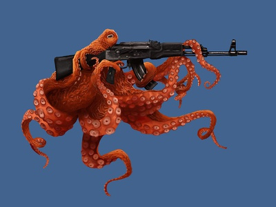 Oct and Loaded illustration ak47 octopus