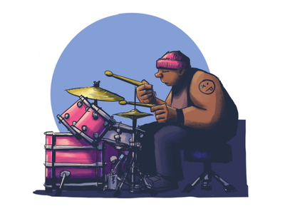 Drummer Illustration critique band music drum kit drumset drum set drums drawing illustration procreate