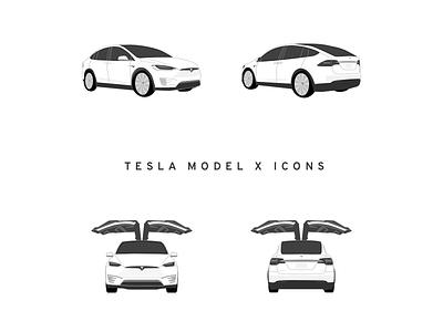Tesla Model X Icons illustration icon model x tesla iconset icons pack icons