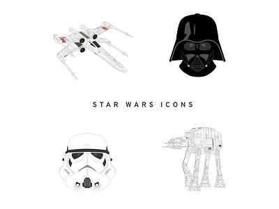 Starwars Wars Icons icon design illustrations icon at-at x-wing stormtrooper darth vader star wars starwars icons pack icons set icons