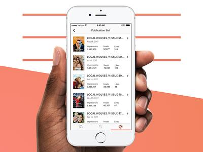 issuu app - Publication List mobile ui ux design magazines reading issuu