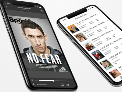 Reading Experience for Issuu iphonex ios prototyping design ux ui white black download magazines reader