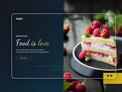 Food is love | Landing page ui app ui design mobile app design app design branding ui deisgn design food illustration food app foodie food and drink food