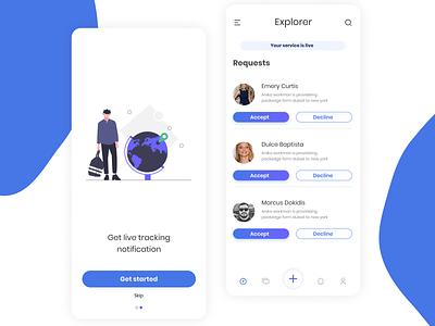 Travel order live tracking app UI Design design app design ux app ui ui design mobile app design ui deisgn