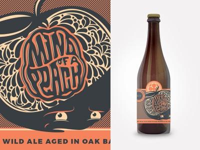 Mind of a Peach illustration typography lettering peaches brewery 22oz beer label