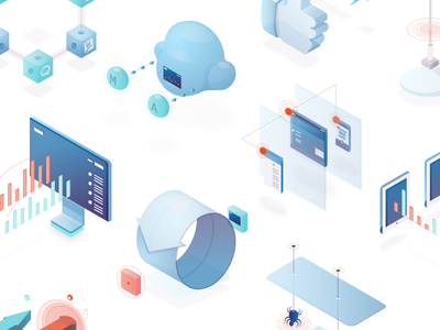 Iso Landscape vector security tech isometric illustration icons