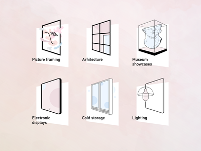 Illustrations for invisible glass shop website ux ui vector category web icon glass design minimal illustration
