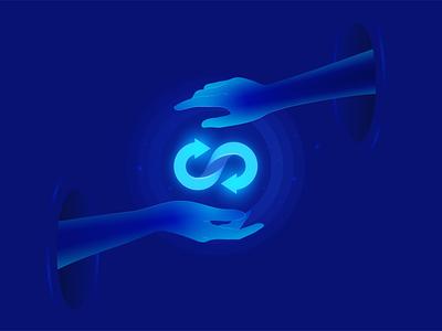 Swap hands illustration cryptocurrency crypto exchange swap hand hands logo vector web branding illustration design